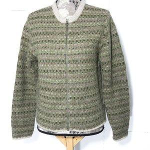 Woolrich Wool Cardigan Sz S Sweater Fair Isle Zip